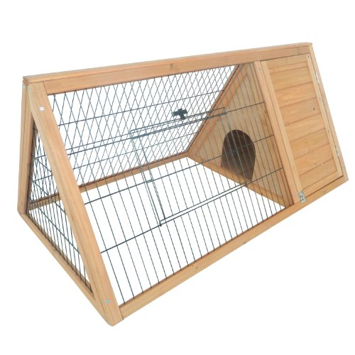 Pawhut Outdoor Triangular Wooden Bunny Rabbit Hutch/Guinea Pig House with Run