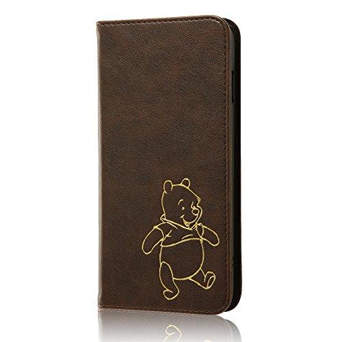 レイ・アウト iPhone7 Plus ケース ディズニー 手帳型 レザーケース(ICカード /ストラップホール) ホットスタンプ ワンポイント/くまのプーさん RT-DP13I/PO