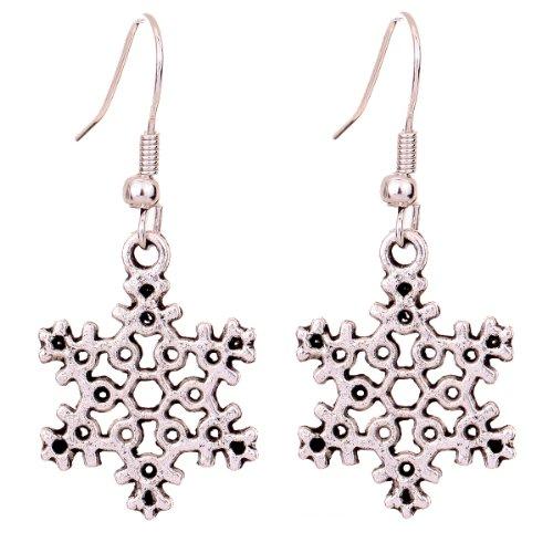 Yazilind Tibetan Silver Snowflakes Shape Ear Wire Hook Dangle Earrings