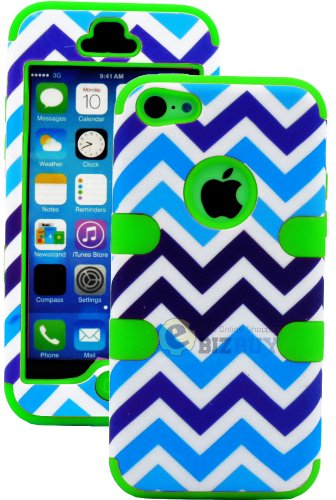 Mylife (Tm) Lime Green + Blue And White Chevron 3 Layer (Hybrid Flex Gel) Grip Case For New Apple Iphone 5C Touch Phone (External 2 Piece Full Body Defender Armor Rubberized Shell + Internal Gel Fit Silicone Flex Protector + Lifetime Waranty + Sealed Insi