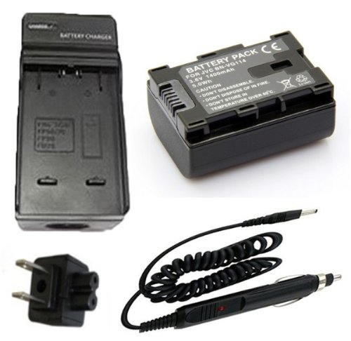 Battery + Charger For Jvc Everio Gz-E10, Gz-E10Au, Gz-E10Bu, Gz-E10Ru, Gz-E10Vu Full Hd Camcorder