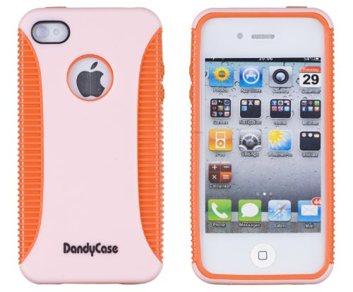 Body Armor Case For Apple Iphone 4, 4S (At&T, Verizon, Sprint) - Pink / Orange - Includes 24/7 Cases Microfiber Cleaning Cloth [Retail Packaging By Dandycase] front-517981