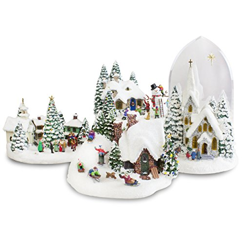 thomas-kinkade-lighted-musical-christmas-village-collectible-figurine-set-of-four