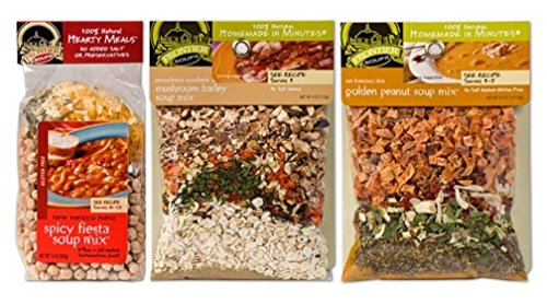 Frontier Soups 100% Natural Homemade In Minutes Soup Mix 3 Flavor Variety Bundle: (1) New Mex GF Spicy Fiesta, (1) San Francisco Thai GF Golden Peanut, and (1) PA Woodlands Mushroom Barley, 4-15 Oz (Thai Soup Mix compare prices)
