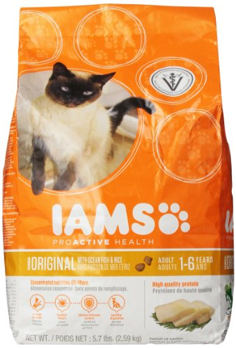 Iams Proactive Health Adult Original With Ocean Fish & Rice Premium Cat Nutrition 5.7 Lbs