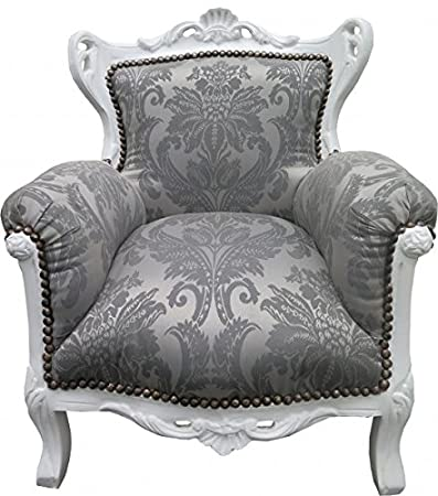 Casa Padrino Baroque Kids Armchair gray baroque pattern / white - Baroque furniture - Limited Edition