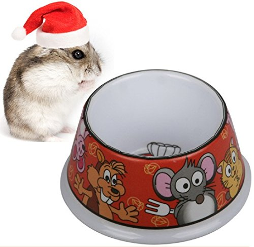 Hamster Bowl Feeder Pet Feeder Little Rabbit Feeder Imitation Porcelain Pet Bowl (Red)