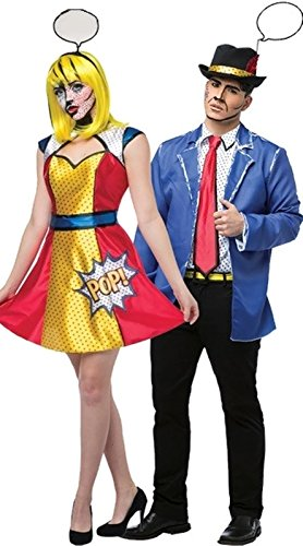 Pop Art Girl and Guy Adult Couple Costumes