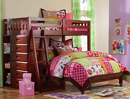 Twin Over Full Loft Bed in Merlot