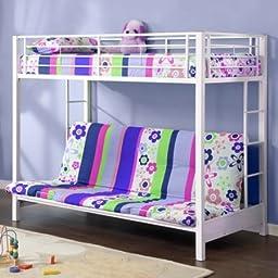 Twin Over Futon Premium Metal Bunk Bed, White | Stylish Contemporary Design