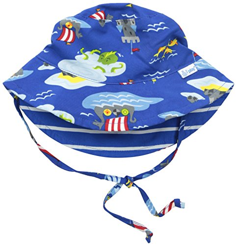 I play. Baby Reversible Bucket Sun Protection Hat, Royal Viking Sea, 9-18 Months