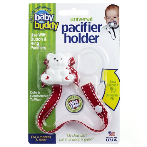 Baby Buddy Universal Pacifier Holder, Red With White Stitch front-463289