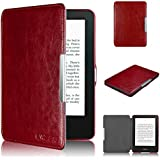 Swees� New Kindle Leather Case Sleeve Smart Cover for Kindle (7th Generation - 2014 October Release) with Magnetic Auto Sleep Wake Function - Simple & Lightweight [Lifetime Warranty] - Red