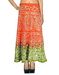 Bohemian Casual Skirt Cotton Peach Ethnic Tie Dye For Her By Rajrang