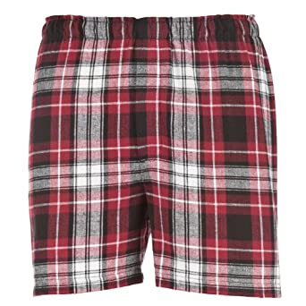 Maroon Black White Plaid Check Classic Cut Flannel Boxer Shorts, Unisex Sizes, Extra Large