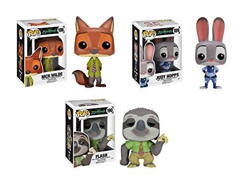 Disney Zootopia Funko Pop Set of 3 - Nick Wilde, Judy Hopps & Flash