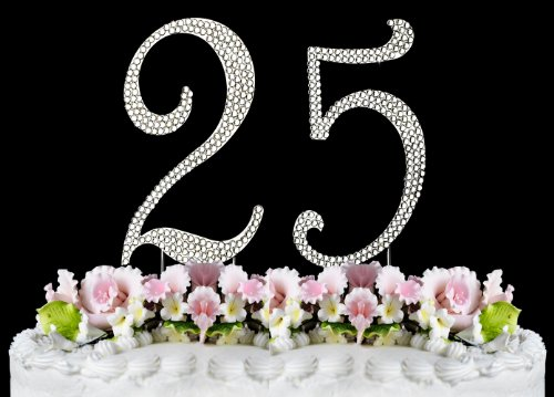 Rhinestone Cake Topper Number 25 front-1014266