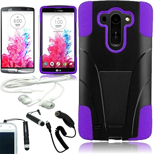 [Arena] Black Purple Hybrid T Stand Cover Fitted Hard Gel Case For Lg G Vista Vs880 + Free Arena Accessory Kit