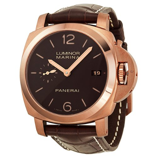 Panerai Luminor Marina 1950 3 Days Automatic Brown Dial 18 kt Rose Gold Mens Watch PAM00393