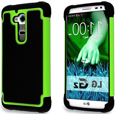 Mylife Lawn Green + Stealth Black {Heavy Duty Design} 2 Layer Neo Hybrid Case For The For The Lg G2 Smartphone (External Rubberized Hard Safe Mesh Piece + Internal Easy Grip Silicone Flexible Bumper Gel)