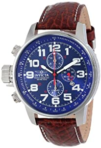 """Invicta Men's 3328 """"Force Collection"""" Stainless Steel Left-Handed Watch with Leather Band"""