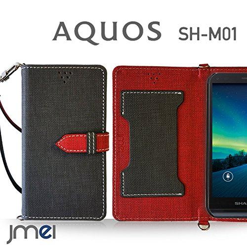 AQUOS SH-M01 ケース JMEIオリジナルカルネケース VESTA ブラック 楽天モバイル simフリー アクオス スマホ カバー スマホケース 手帳型 ショルダー スマートフォン