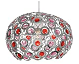 Oaks Lighting Tulsa Chrome with Pink and Red Acrylic Drops Dome
