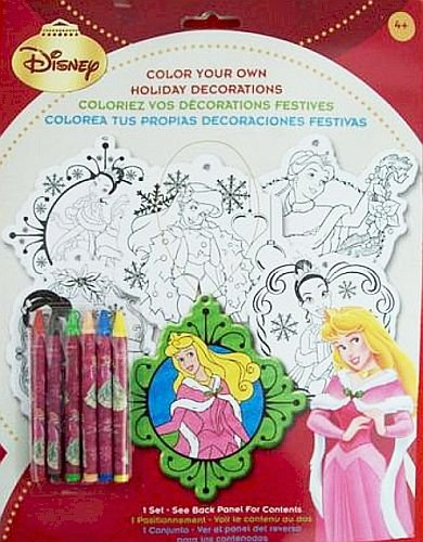 Disney Princess Color Your Own Holiday Decorations Incl: Crayons