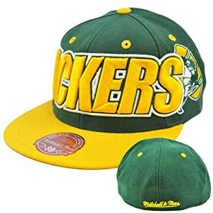 NFL Mitchell Ness Throwback Logo Retro Wordmark Cap Hat TT48 Green Bay Packers by Mitchell & Ness