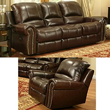 Reclining Italian Leather Sofa and Chair