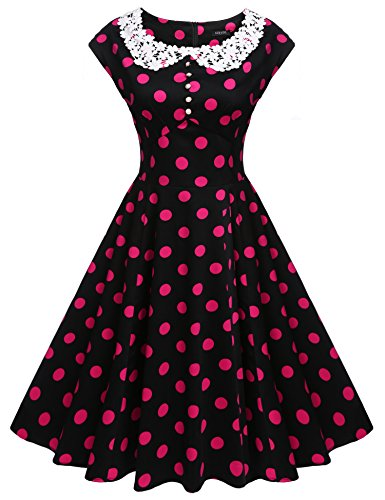 ACEVOG Women's Classy Vintage Audrey Hepburn Style 1940's Rockabilly Evening Dress (L, Red Polka Dot) (Old Dresses For Women compare prices)
