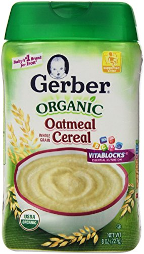 Gerber Baby Cereal, Organic Oatmeal, 8 Ounce - 1