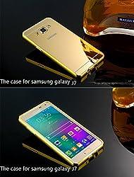 Luxury Metal Bumper Acrylic Mirror Back Cover Case For Samsung Galaxy J7 - Gold