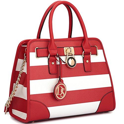 dasein-stripe-medium-satchel-shoulder-bag-with-shoulder-strap