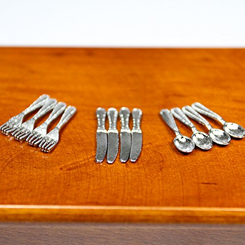 1:12 Kitchen Kitchenware Cookware Dinner Knife Fork Spoon Miniature Set Doll