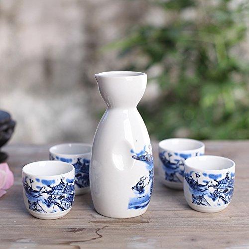 ankoow-service-a-sake-japonais-avec-quatre-tasses-porcelaine-bleu-et-blanc-peint-a-la-main-style-pot