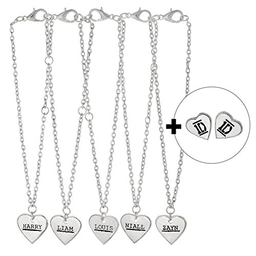 One Direction 5 Name Heart Bracelets and Earrings Set (1 Direction Jewelry compare prices)