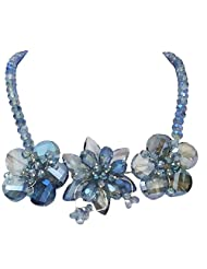 BID4DESIRE ALL CRYSTAL BLUE FLOWER NECKLACE FOR WOMEN