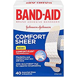 Band-Aid Adhesive Bandages Sheer Comfort Flex Assorted Sizes 40 ct
