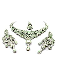 Mychamakbangles Fashion Jewellery Light Pista Green & White Austrian Crystal Wedding Party Necklace Set With Earrings...