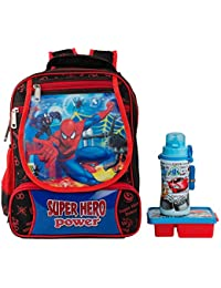 Uxpress Spiderman Black School Bag With Water Bottle & Tiffin Box