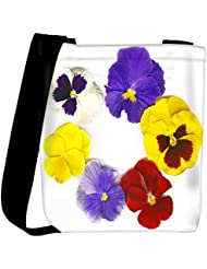 Snoogg A Circle Made Of Colorful Viola Tricolor Womens Carry Around Cross Body Tote Handbag Sling Bags