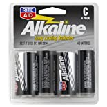 Rite Aid Batteries, Alkaline, C, 1.5 Volts, 4 Pack 4 batteries