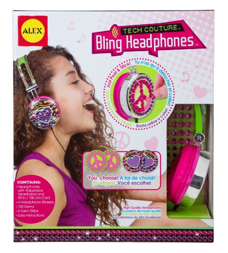 Alex Toys - Do-It-Yourself Wear, Pink And Green Tech Couture Bling Headphones, 747H