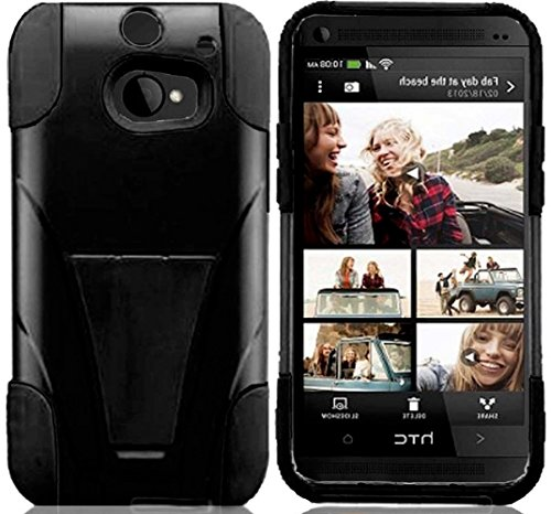 Mylife Coal Black {Impact Design} Two Piece Neo Hybrid (Shockproof Kickstand) Case For The All-New Htc One M8 Android Smartphone - Aka, 2Nd Gen Htc One (External Hard Fit Armor With Built In Kick Stand + Internal Soft Silicone Rubberized Flex Gel Full Bod
