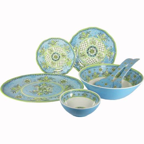 Le Cadeaux Benidorm Blue Melamine Dinnerware, 16 Pc Set