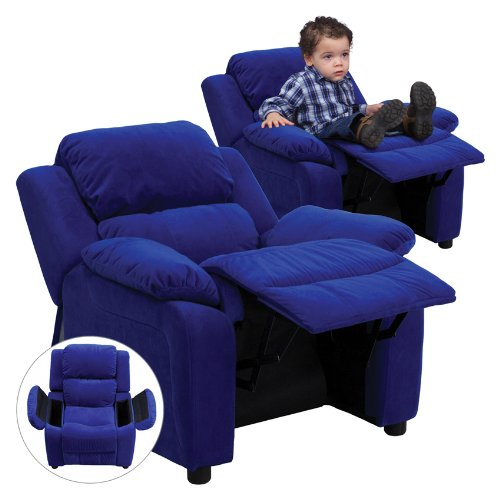 Flash Furniture Deluxe Heavily Padded Contemporary Blue Microfiber Kids Recliner With Storage Arms