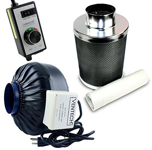 VenTech VT IF4+CF4-B Inline Exhaust Blower Fan with Carbon Filter and Variable Speed Controller, 190 CFM, 4