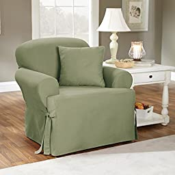 Sure Fit Duck Solid T-Cushion - Chair Slipcover  - Sage (SF33056)
