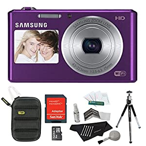Samsung DV150F 16.2MP Smart WiFi Digital Camera with 5x Optical Zoom and 2-Inch front and 3-Inch Rear Dual LCD Screens (Purple) + Sandisk 8GB Micro SDHC + NXE Hard Shell Case + Accessories
